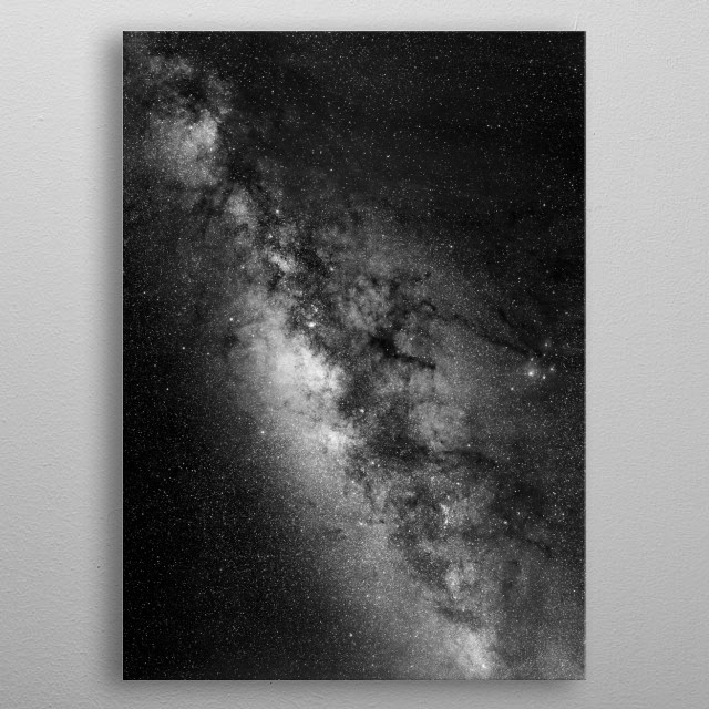 Mosaic of hundreds of long-exposure photos taken from Mauna Kea Observatory, Hawaii. Black and white. metal poster