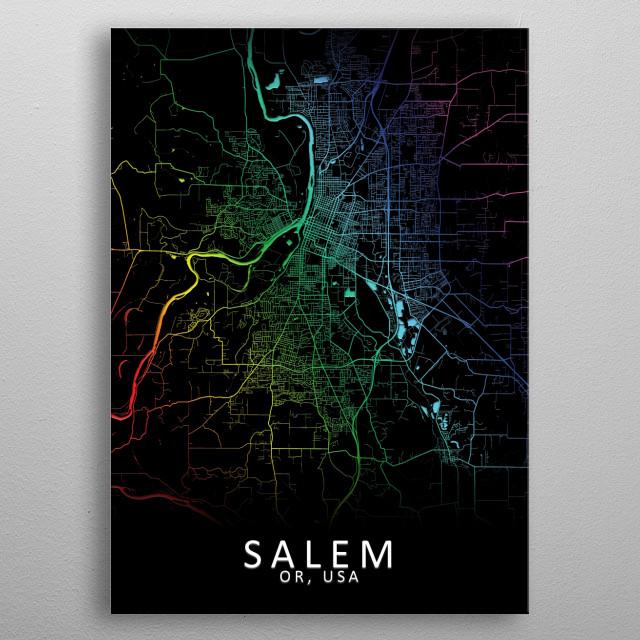 Salem OR USA City Map metal poster