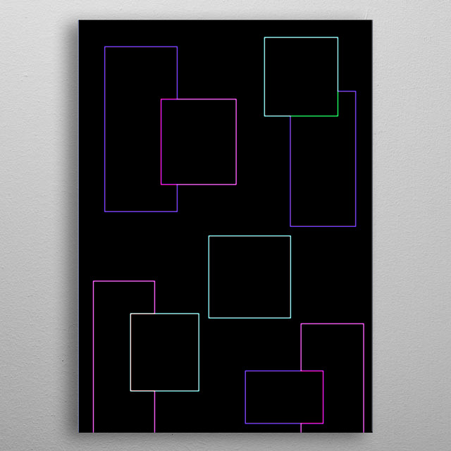 Colorful neon outlines of squares on black background. metal poster