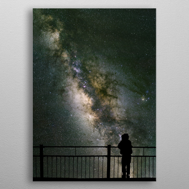 A child silhouetted against the Milky Way. High resolution image taken from Mauna Kea Observatory, Hawaii. metal poster