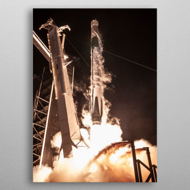 Elon Musk's SpaceX Launches rockets like the Falcon 9 and Heavy and soon the BFR or Starship and then land the boosters. Let's go to Mars! metal poster