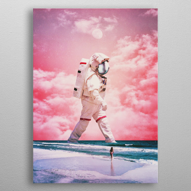 surreal digital glitch collage  metal poster