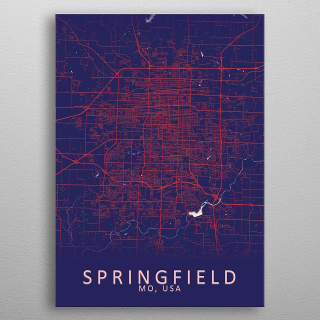Springfield USA City Map metal poster