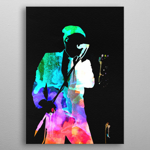 Watercolor painting of legendary music icon REM. Please explore our Music Legend collection of displates. metal poster