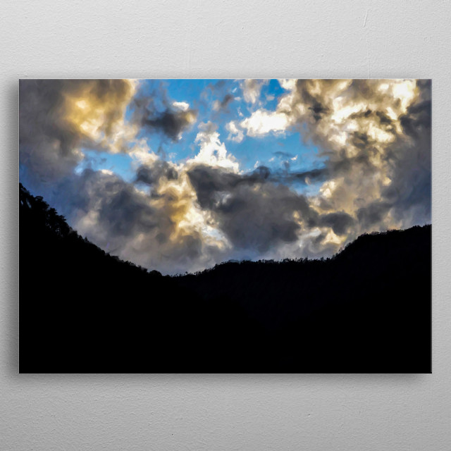 Digital Painting: Sky with Clouds (Uttarkashi) June 17, 2013: Blue sky in the evening with light yellow and grey clouds over Uttarkashi. metal poster