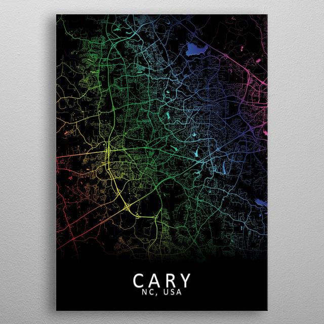 Cary NC USA City Map metal poster