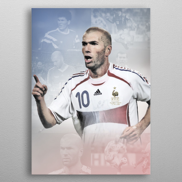 Zinedine Zidane drawn design with background pics of his international career. metal poster