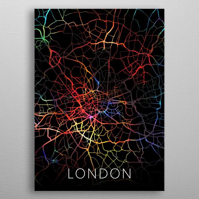 London Watercolor City Map Dark Mode England metal poster