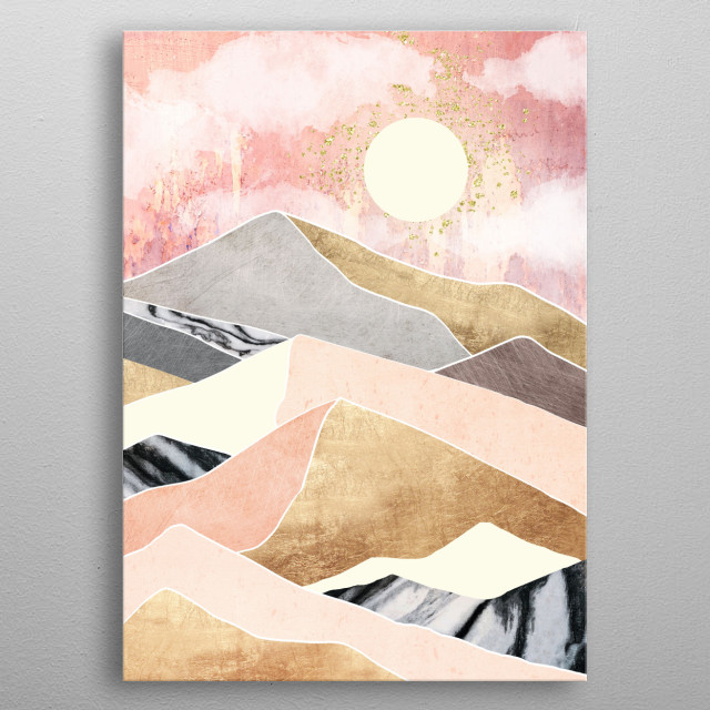 Abstract landscape with a summer sun, gold, pink and yellow metal poster