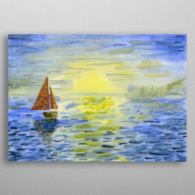 The sea is endless. Ship it's freedom. Watercolor on paper. metal poster