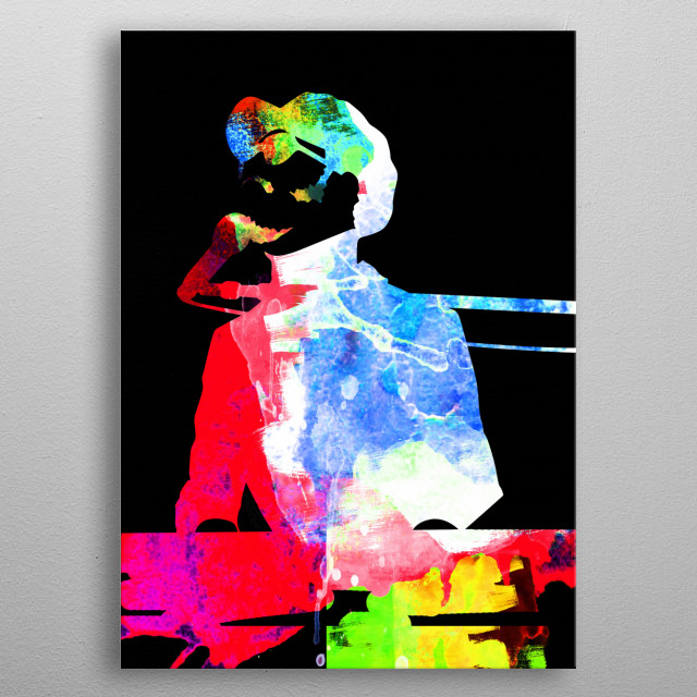 Watercolor painting of legendary music icon Stevie Wonder. Please explore our Music Legend collection of displates. metal poster