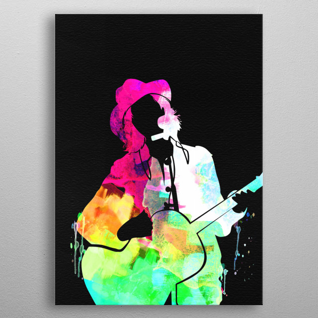 Watercolor painting of legendary music icon Beck. Please explore our Music Legend collection of displates. metal poster