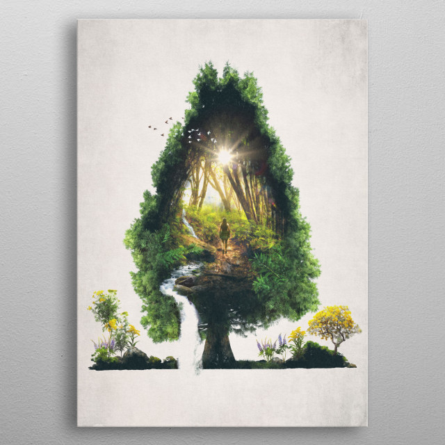 I took the one less traveled by, And that has made all the difference. metal poster