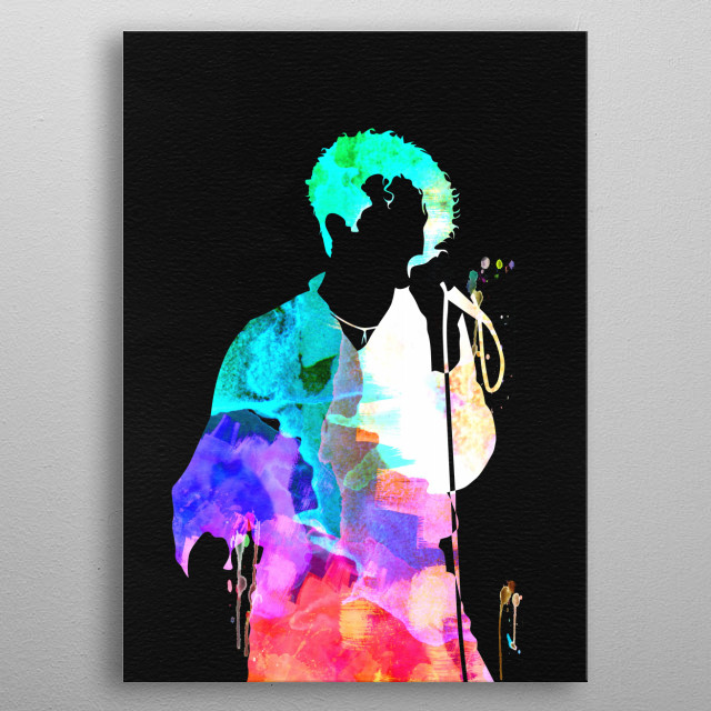 Watercolor painting of legendary music icon Simply Red. Please explore our Music Legend collection of displates. metal poster