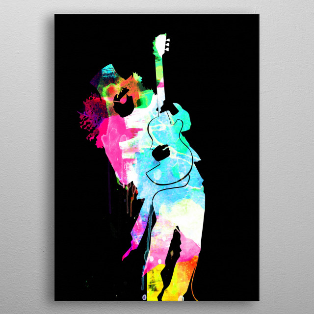 Watercolor painting of legendary music icon Slash. Please explore our Music Legend collection of displates. metal poster