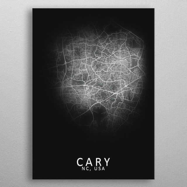 Cary NC USA City Map metal poster