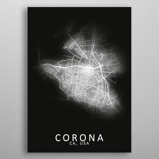Corona CA USA City Map metal poster