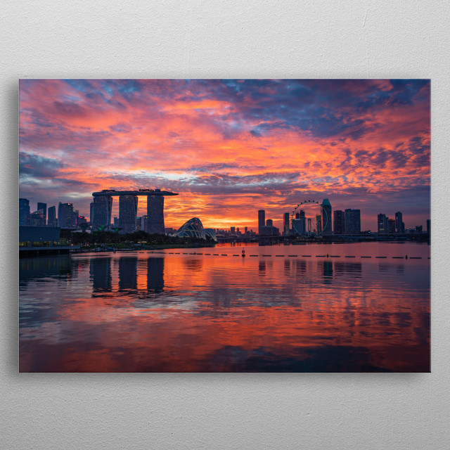 Photograph image of the skyline of Singapore during the sunset with a pinkish colour  metal poster