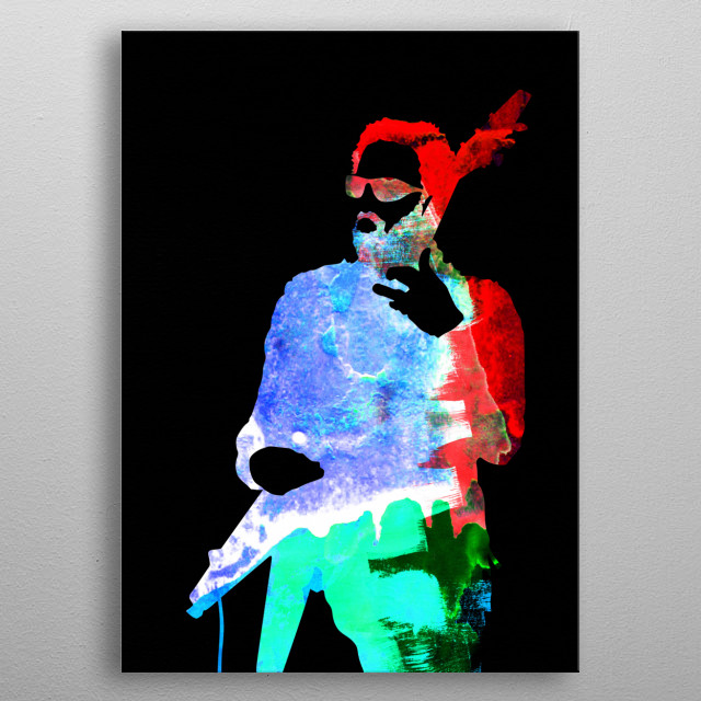 Watercolor painting of legendary music icon Lenny Kravitz. Please explore our Music Legend collection of displates. metal poster