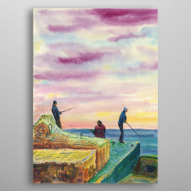 Fishermen At Sea during sunset. Watercolor on paper. metal poster