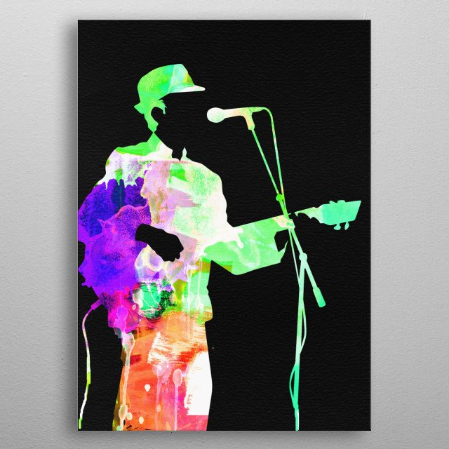 Watercolor painting of legendary music icon Leonard Cohen. Please explore our Music Legend collection of displates. metal poster