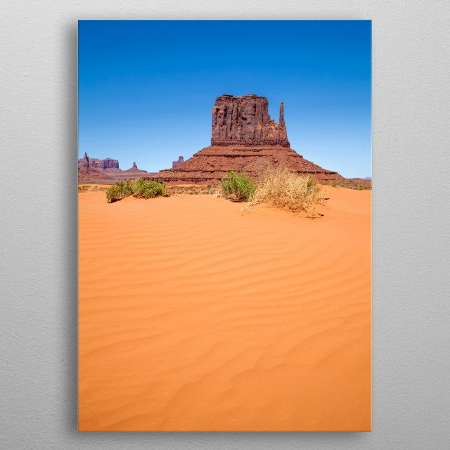 Monument Valley is a region of the Colorado Plateau with sandstone buttes. Wonderful scenic view with famous West Mitten Butte. metal poster