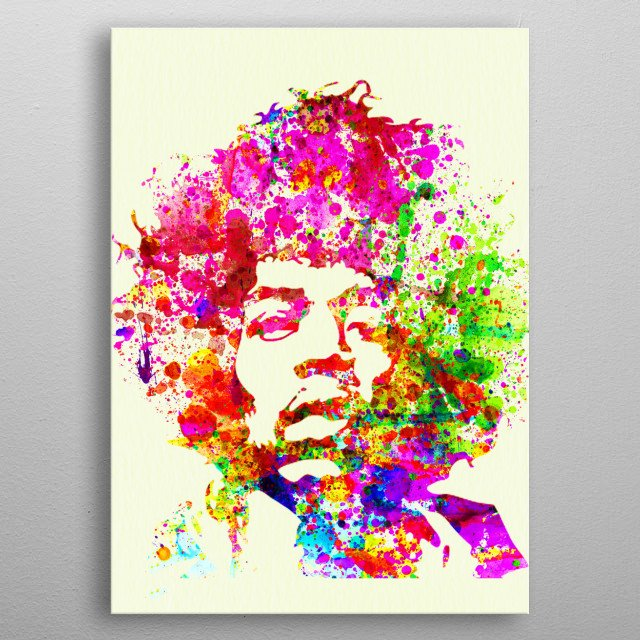 Watercolor painting of legendary music icon Jimi Hendrix. Please explore collection of fanart. metal poster