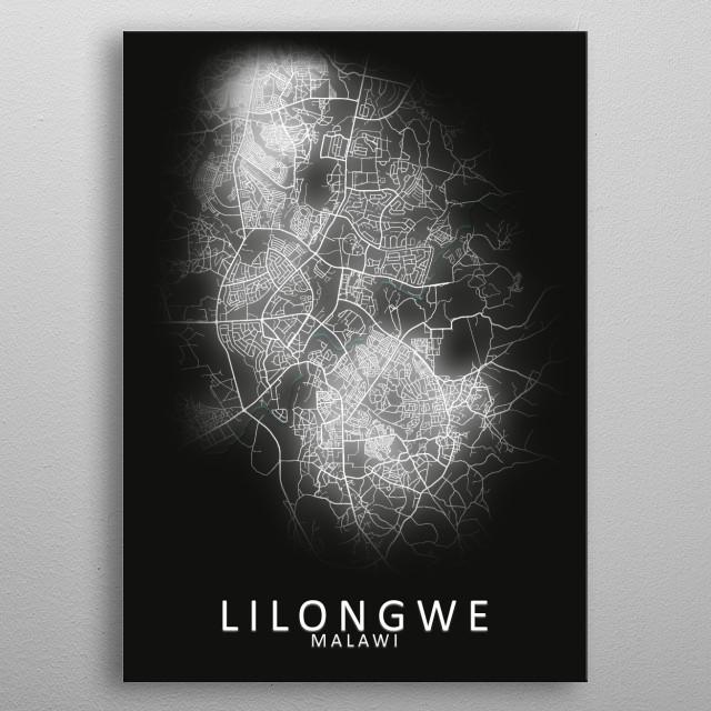Lilongwe Malawi City Map metal poster