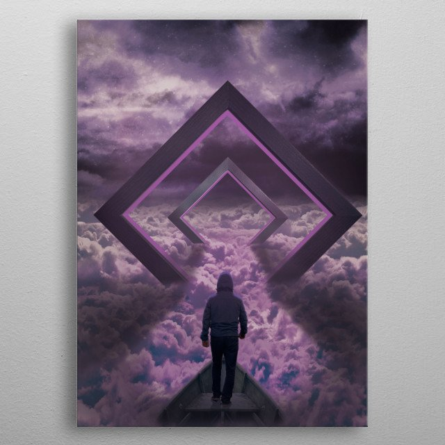 Man in the clouds. metal poster
