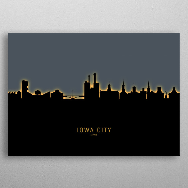 Skyline of Iowa City, Iowa, United States metal poster