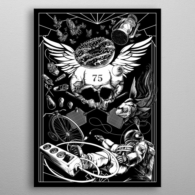 Patient 75, black and white illustration. More on  metal poster