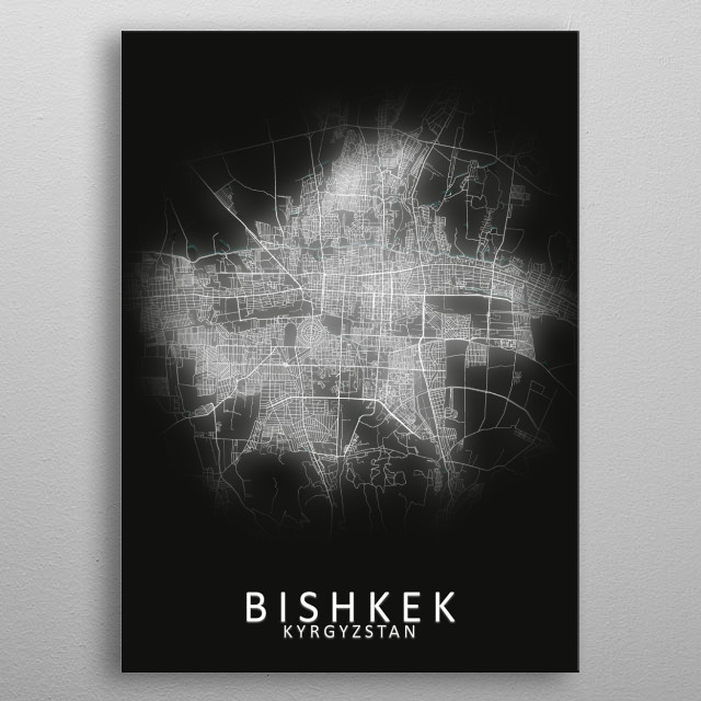 Bishkek Kyrgyzstan Map metal poster