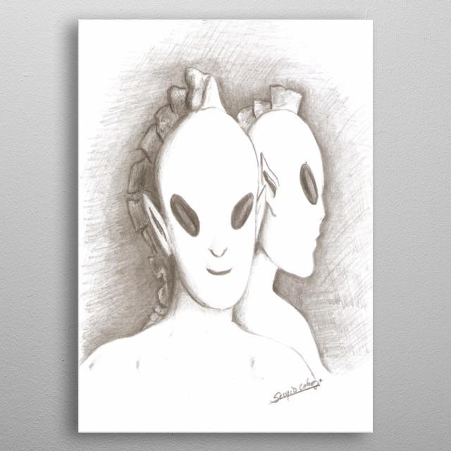 ilustrasión, de la Presencia de seres celestiales, entre nosotros. metal poster