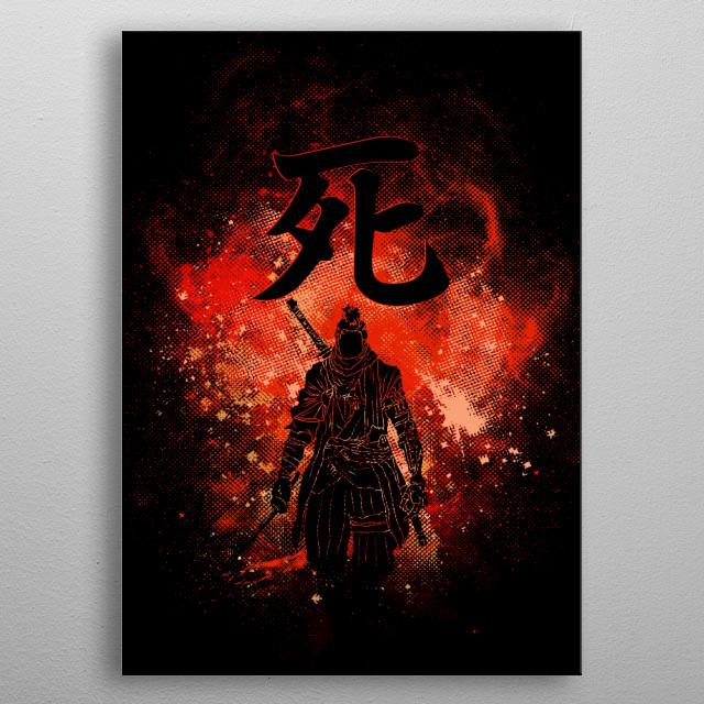 Black silhouette of the Shinobi metal poster