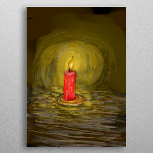 Digital pastel illustration/painting of a red candle shining golden light into the darkness. metal poster