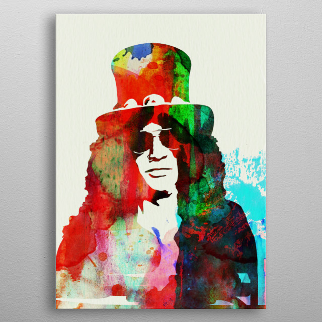 Watercolor painting of legendary music icon Slash. Please explore collection of fanart. metal poster