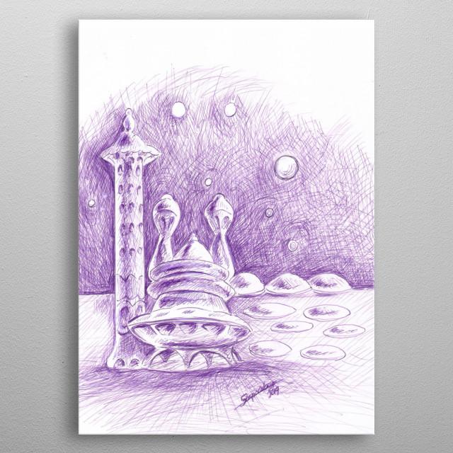 Ilustración de una Habitación, en algun lugar remoto de nuestro inmenso universo. metal poster
