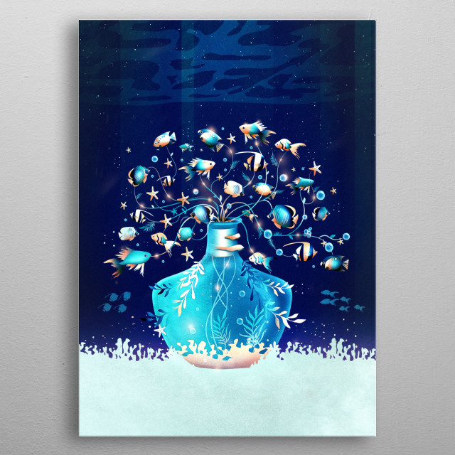 Dive into the ocean and explore a underwater plant. It is made of fish, bubbles and starfish and glows magical. metal poster
