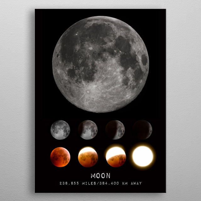 The Moon is an astronomical body that orbits planet Earth and is Earth's only permanent natural satellite. Credit: Gregory H. Revera metal poster