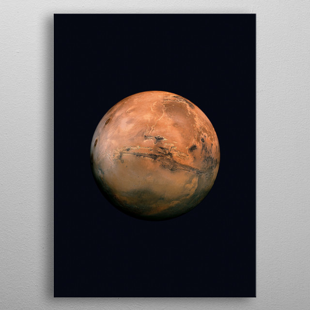"""This is a stunning photograph of Mars, the """"Red planet"""". metal poster"""
