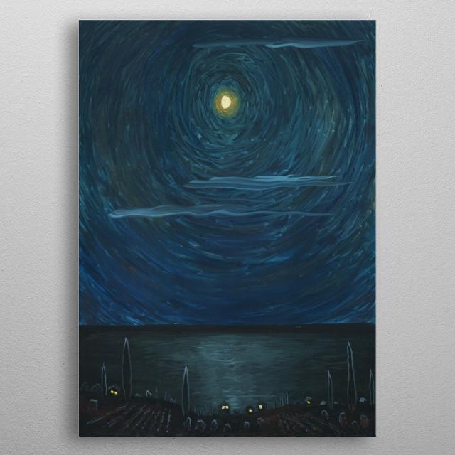 Moonlit nights at sea are magical and inspiring. Black Sea, Crimea, Simeiz city. Oil painting on hardboard metal poster