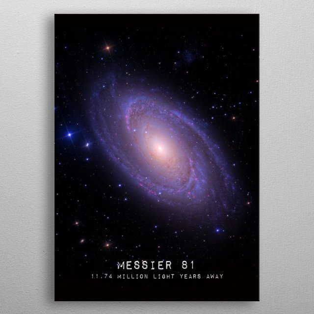 Messier 81 is a spiral galaxy about 12 million light-years away. Credit: Ken Crawford (imagingdeepsky) metal poster