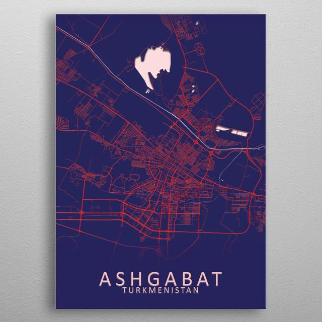 Ashgabat Turkmenistan Map metal poster