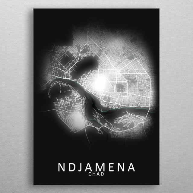 Ndjamena Chad City Map metal poster