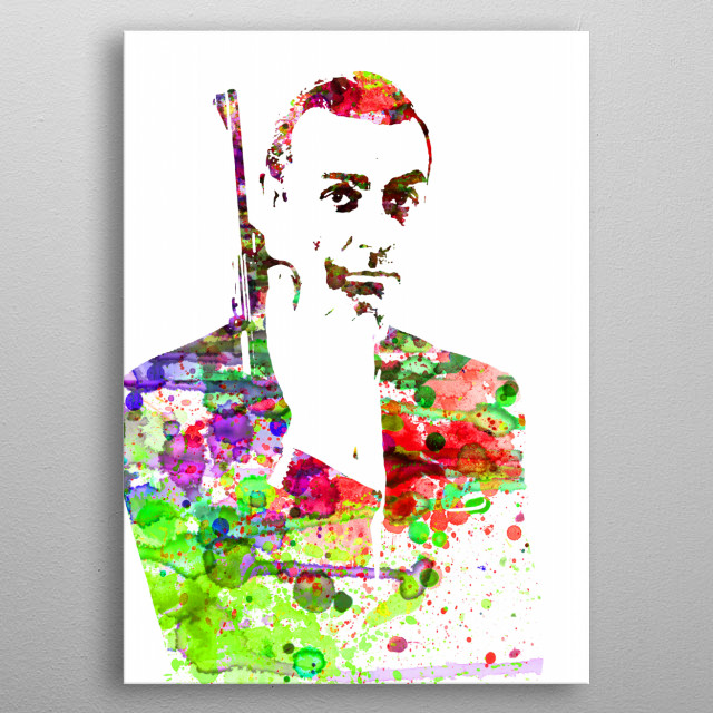 Watercolor painting celebrating one of our favorite icons James Bond. Please explore our collection of fanart. metal poster