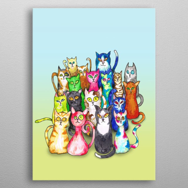 A watercolor painting of a group of funny colorful cats metal poster