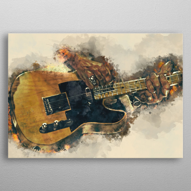 Keith Richards's guitar. Hand painted digital music poster caricature image with photoshop effects. Best gift for every guitarists. metal poster