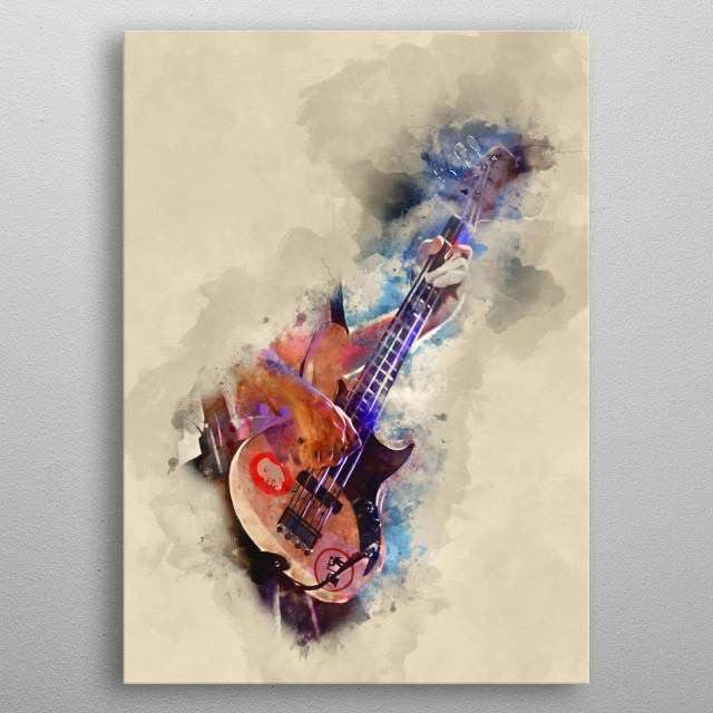 Flea's bass guitar. Hand painted digital music poster caricature image with photoshop effects. Best gift for every guitarists, musicians metal poster