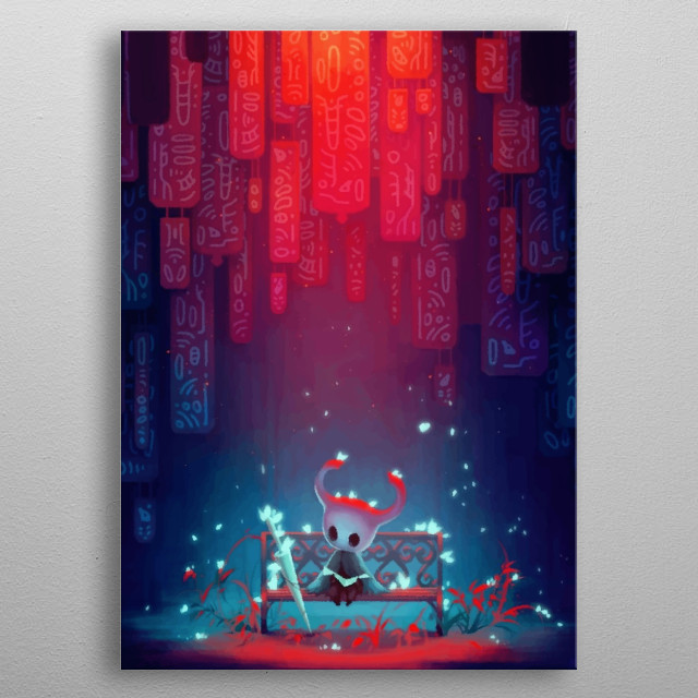A crystalline illustration of Hollow Knight. metal poster
