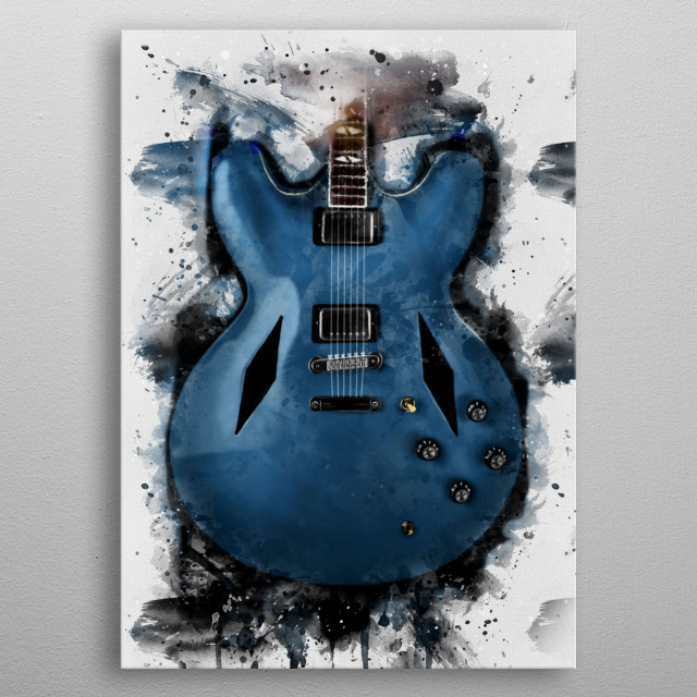 Dave Grohl's guitar. Hand painted digital music poster caricature image with photoshop effects. Best gift for every guitarists, musicians metal poster